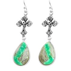 925 sterling silver 12.60cts natural green variscite holy cross earrings p72518