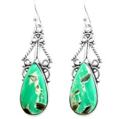 925 sterling silver 14.40cts natural green variscite pear dangle earrings p72626