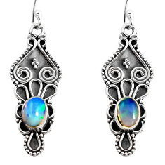 925 sterling silver 3.87cts natural multi color ethiopian opal earrings p92775