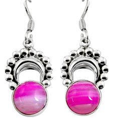 Clearance Sale- 925 sterling silver 10.22cts natural pink botswana agate dangle earrings d32435