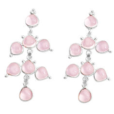 925 sterling silver 15.93cts natural pink chalcedony chandelier earrings p43894