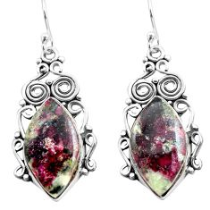 925 sterling silver 18.46cts natural pink eudialyte dangle earrings p72631