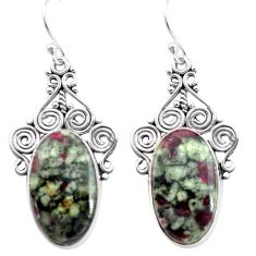 925 sterling silver 21.34cts natural pink eudialyte dangle earrings p72634
