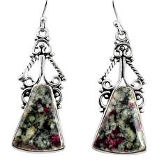 925 sterling silver 17.40cts natural pink eudialyte dangle earrings p91891
