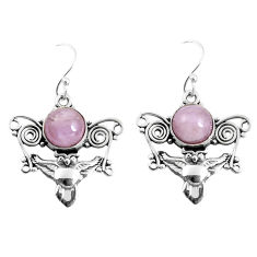 925 sterling silver 6.31cts natural pink kunzite owl earrings jewelry p52079