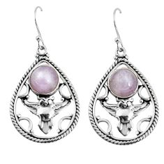 925 sterling silver 7.38cts natural pink kunzite owl earrings jewelry p58369