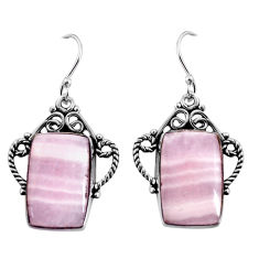 925 sterling silver 17.20cts natural pink lace agate dangle earrings p91974