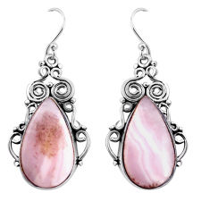 925 sterling silver 17.95cts natural pink lace agate dangle earrings p91979