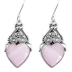 925 sterling silver 13.71cts natural pink lace agate heart earrings p34912