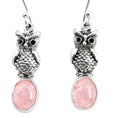 925 sterling silver 6.39cts natural pink morganite owl earrings jewelry p54974
