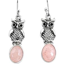 925 sterling silver 6.38cts natural pink morganite owl earrings jewelry p54978