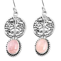 925 sterling silver 6.58cts natural pink morganite tree of life earrings p54853