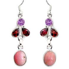 925 sterling silver 13.28cts natural pink opal amethyst dangle earrings d32345