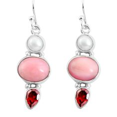 925 sterling silver 10.37cts natural pink opal garnet dangle earrings p57379