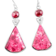 925 sterling silver 20.34cts natural pink thulite garnet dangle earrings p78594
