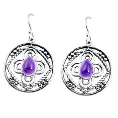 925 sterling silver 3.36cts natural purple amethyst dangle earrings d32484