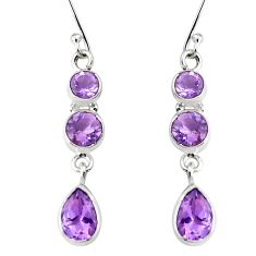 925 sterling silver 8.37cts natural purple amethyst dangle earrings p45684