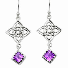 925 sterling silver 5.54cts natural purple amethyst dangle earrings p73608