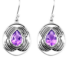 925 sterling silver 6.04cts natural purple amethyst dangle earrings p77569