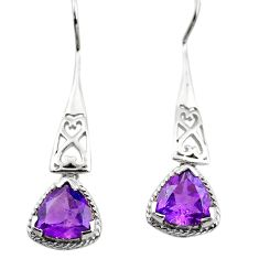 925 sterling silver 6.39cts natural purple amethyst dangle earrings p84057