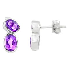 925 sterling silver 5.51cts natural purple amethyst stud earrings jewelry p73584