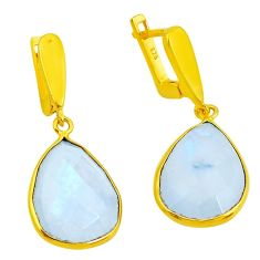 925 sterling silver 21.44cts natural rainbow moonstone 14k gold earrings p50054