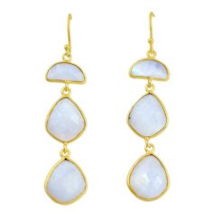 925 sterling silver 26.43cts natural rainbow moonstone 14k gold earrings p91279