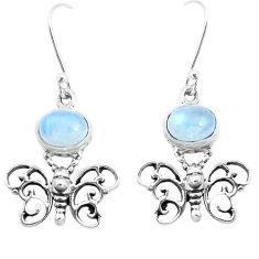 925 sterling silver 4.82cts natural rainbow moonstone butterfly earrings p38495
