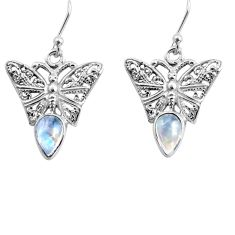 925 sterling silver 4.34cts natural rainbow moonstone butterfly earrings p84887