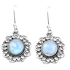 925 sterling silver 8.83cts natural rainbow moonstone dangle earrings p26372