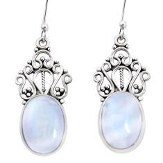 925 sterling silver 12.31cts natural rainbow moonstone dangle earrings p32694