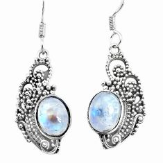 925 sterling silver 6.36cts natural rainbow moonstone dangle earrings p34484