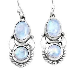 925 sterling silver 6.31cts natural rainbow moonstone dangle earrings p34489