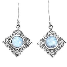 925 sterling silver 5.63cts natural rainbow moonstone dangle earrings p34498