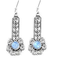 925 sterling silver 2.74cts natural rainbow moonstone dangle earrings p39234