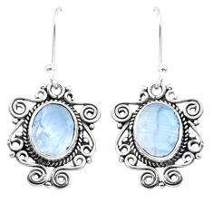 925 sterling silver 8.31cts natural rainbow moonstone dangle earrings p41400