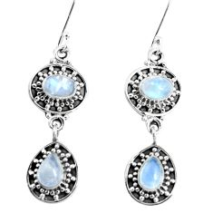 925 sterling silver 5.95cts natural rainbow moonstone dangle earrings p51530