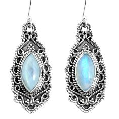 925 sterling silver 10.04cts natural rainbow moonstone dangle earrings p52758