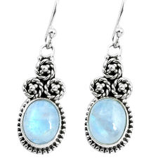 925 sterling silver 6.83cts natural rainbow moonstone dangle earrings p52958