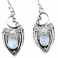 925 sterling silver 3.01cts natural rainbow moonstone dangle earrings p57616