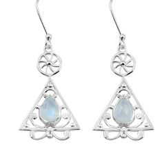 925 sterling silver 3.48cts natural rainbow moonstone dangle earrings p58140