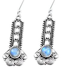 925 sterling silver 2.54cts natural rainbow moonstone dangle earrings p58149