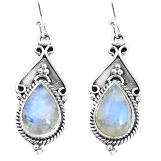 925 sterling silver 8.92cts natural rainbow moonstone dangle earrings p58208
