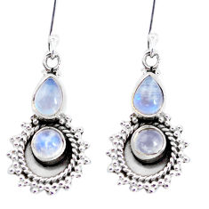 925 sterling silver 5.75cts natural rainbow moonstone dangle earrings p58233