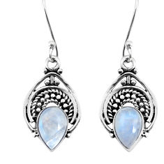 925 sterling silver 4.06cts natural rainbow moonstone dangle earrings p58417