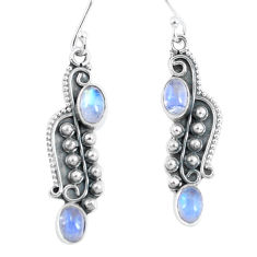 925 sterling silver 4.29cts natural rainbow moonstone dangle earrings p59978