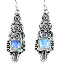 925 sterling silver 4.43cts natural rainbow moonstone dangle earrings p60018