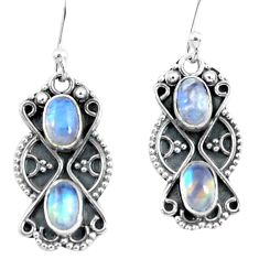 925 sterling silver 4.22cts natural rainbow moonstone dangle earrings p60040