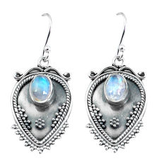 925 sterling silver 3.52cts natural rainbow moonstone dangle earrings p60098