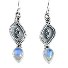 925 sterling silver 3.22cts natural rainbow moonstone dangle earrings p60198